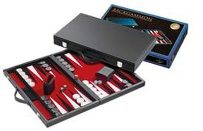 Backgammon red, large, synthetic leather  (Rood)